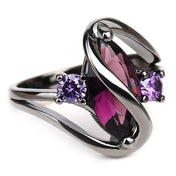 Amethyst Water Drop Ring, Luna Daze