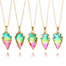Aura Quartz Arrowhead Necklace, Luna Daze
