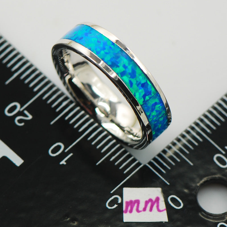 Blue Fire Opal Silver Band Ring, Luna Daze