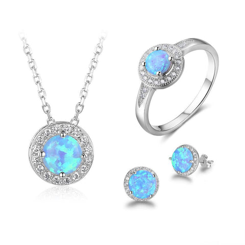 Blue Fire Opal Jewelry Set, Luna Daze