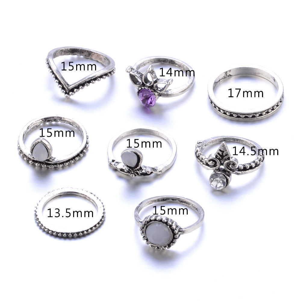 8 Piece Antique Purple Ring Set, Luna Daze