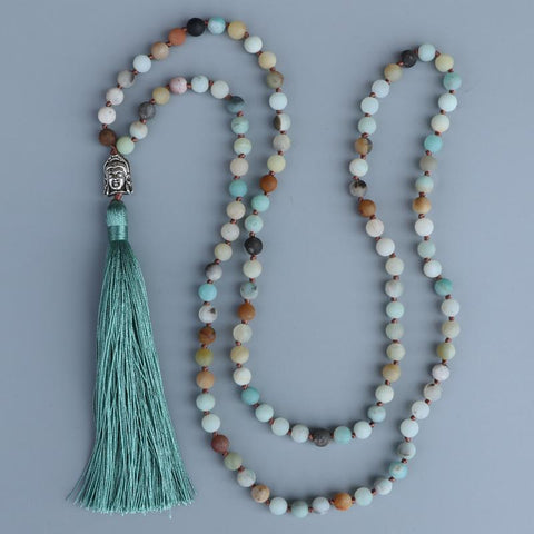 Amazonite Buddha Mala Necklace, Luna Daze