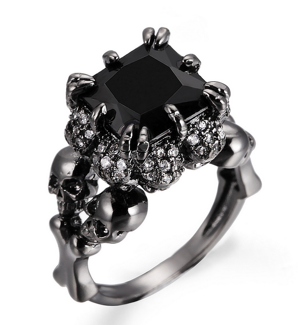 Black Agate Princess Skull Ring, Luna Daze