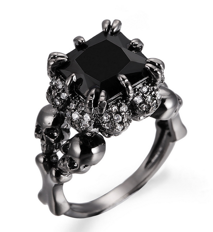 Black Agate Princess Skull Ring