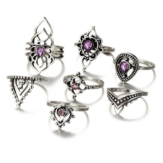 Endless Amethyst Ring Set