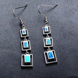 Blue Fire Opal Squared Earrings, Luna Daze