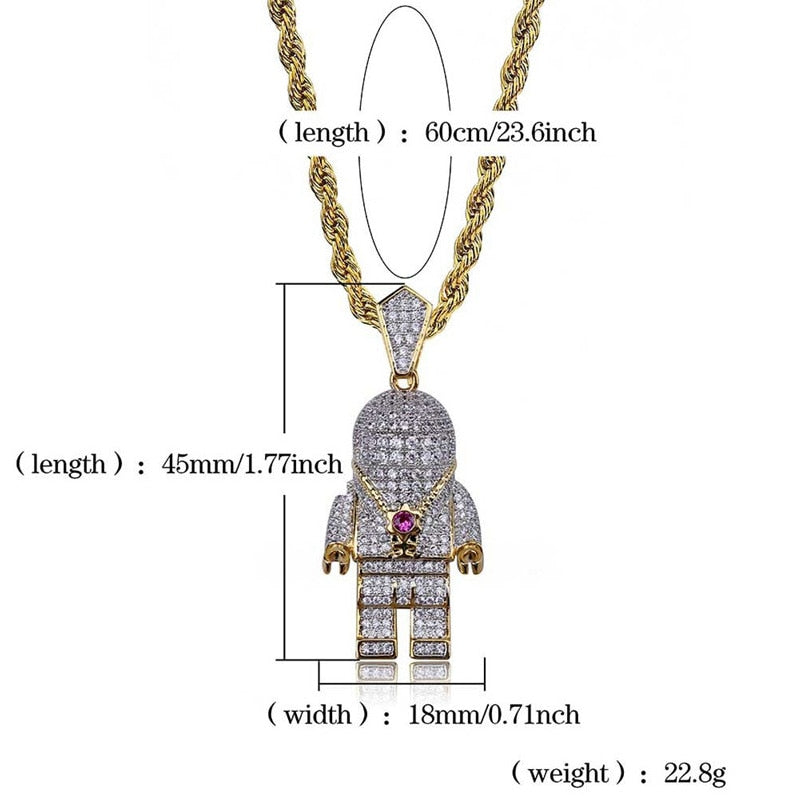 Iced Out Gold Astronaut Necklace