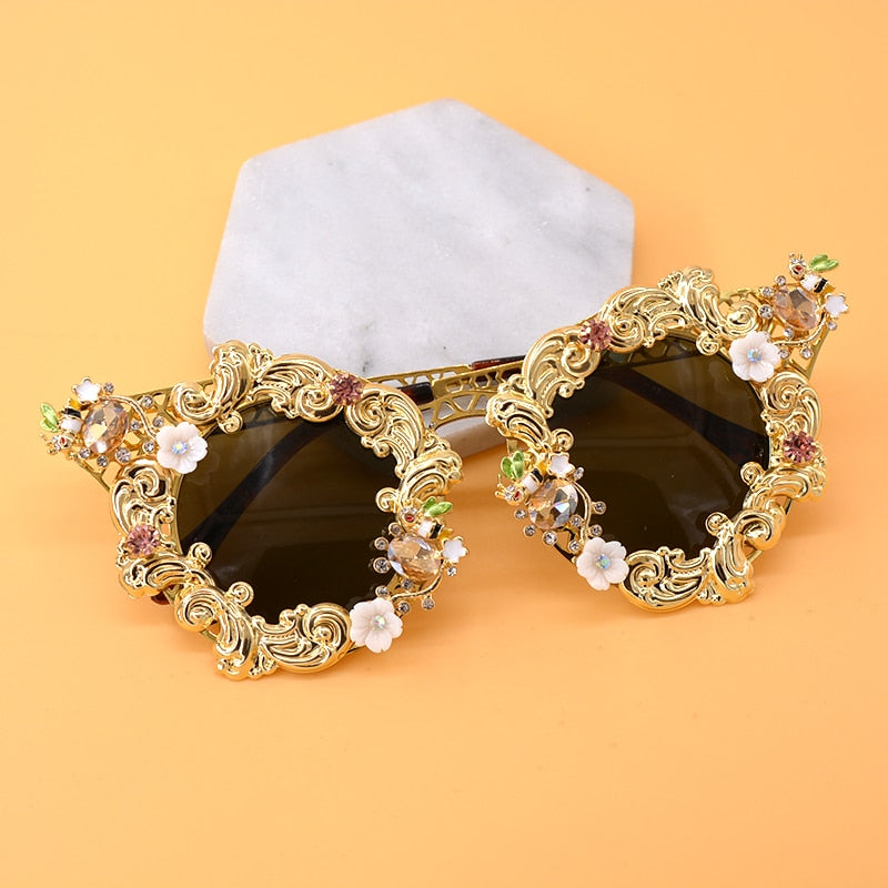 Vintage Flower Cat Eye Sunglasses