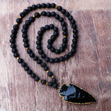 Black Obsidian Arrowhead Necklace With Lava Stone Beads