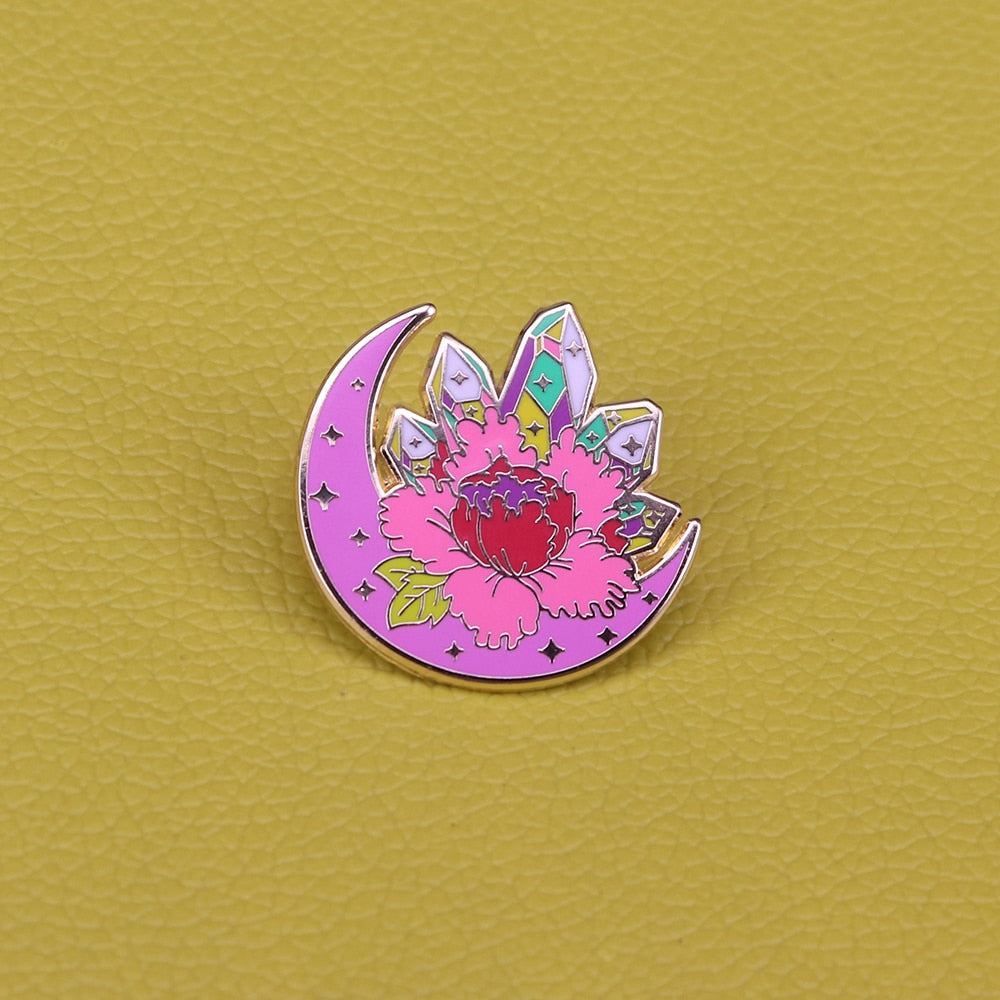 Flowering Crystal Moon Pin