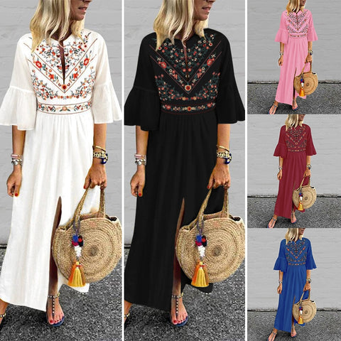 Wildflower Boho Maxi Split Dress