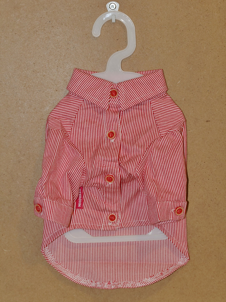 Red Pinstripe Button Up Shirt