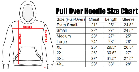 Pull Over Hoodie Size Chart