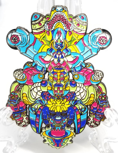 Tribal Machine Pin Blue