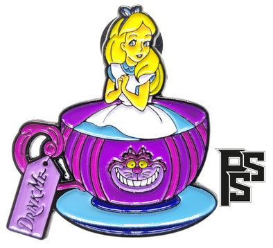 Alice in a Cup Lapel Pin