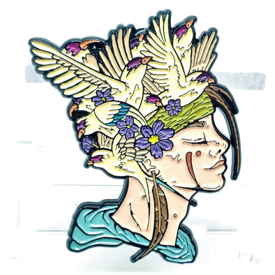 Bird Brain Lapel Pin