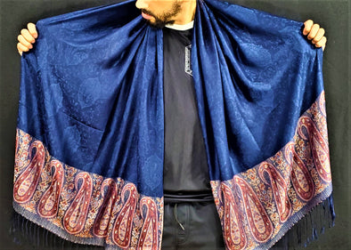 Blue with Red Fringe Paisley Pashmina
