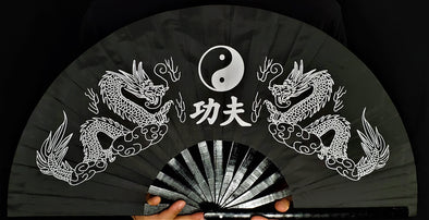 Chinese Black Dragon Hand-Fan