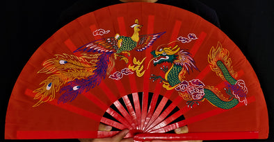 Chinese Red Dragon Hand-Fan
