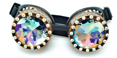 Brown BeDazzled Kaleidoscope Goggles