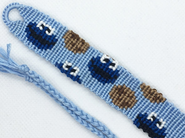 """Sesame Street"" Cookie Monster Friendship Bracelet (Custom Hand Made)"