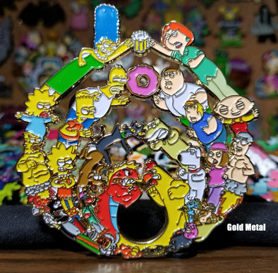 Family Guy Vs Simpsons Bassdrop Lapel Pin