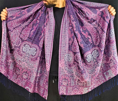 Fresh Purple Cream Pashmina