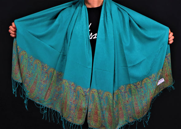 Light Blue Leaf Pashmina