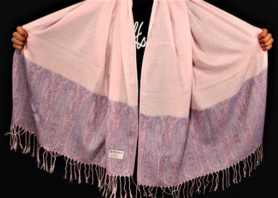 Pink on Purple Fringe Pashmina