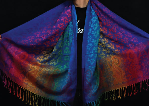 Rainbow Edge (Dark) Pashmina