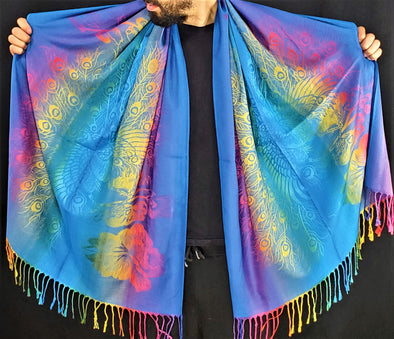 Rainbow Full Peacock Blue Pashmina