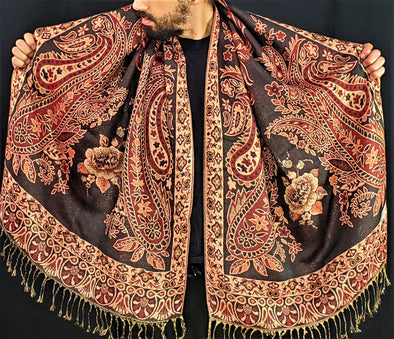 Red Cream Black Trio Paisley Pashmina