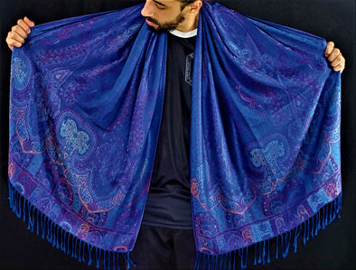 Royal Blue Paisley Pashmina