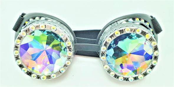 Silver BeDazzled Kaleidoscope Goggles