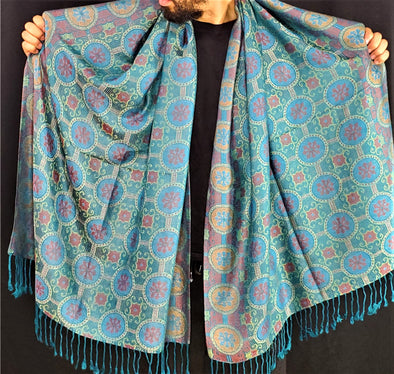 Star Circle Pattern Teal Pashmina