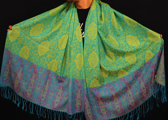 Green and Yellow Leaf Paisley Pashmina
