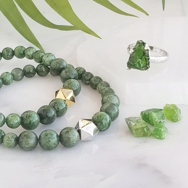 chrome diopside intention bracelet rough crystal ring yoga jewelry