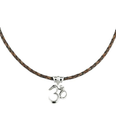 Om necklace large leather cord
