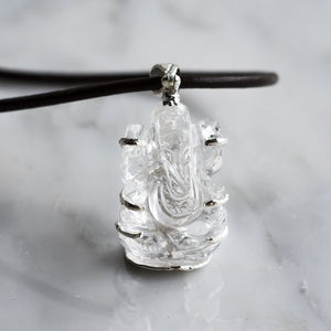 Crystal Ganesh pendant leather cord