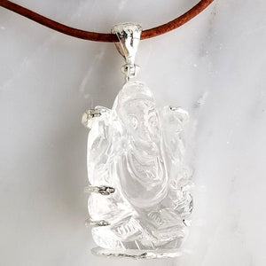 Crystal Ganesh pendant leather cord hand carved