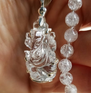 Crystal Ganesh mala hand carved