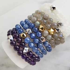 Anahata Intention Braceelts amethyst kyanite labradorite moonstone