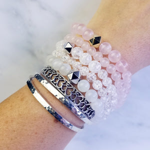 Ice Flake Quartz Crystal Intention Bracelet
