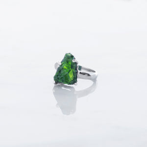 Chrome diopside rough crystal ring Anahata