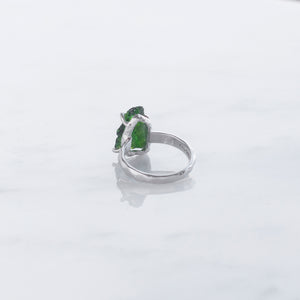 Chrome Diopside Rough Crystal Ring