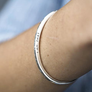 I am That Vedic mantra cuff bracelet silver yoga meditation
