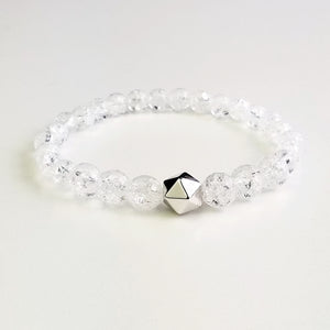 ice flake clear quartz crystal intention bracelet Anahata
