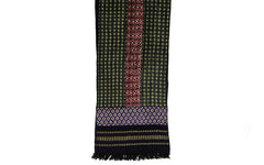Hand Embroidered Narrow Scarf - Green, Purple and Red on Black