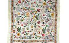 Folk Art Kantha Stitch Scarf - Multicoloured Stitch