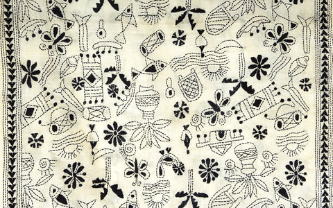 Folk Art Kantha Stitch Scarf - Black Stitch